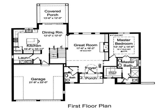 European Floor Plan - Main Floor Plan Plan #46-473