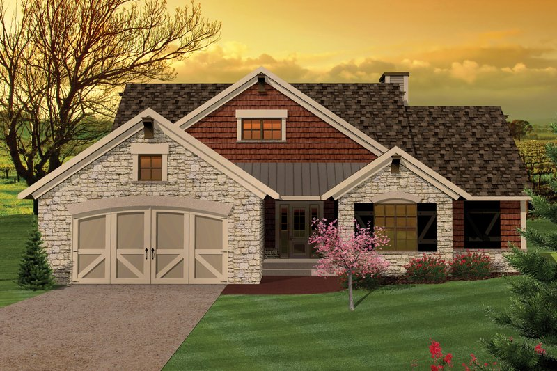Ranch Exterior - Front Elevation Plan #70-1044