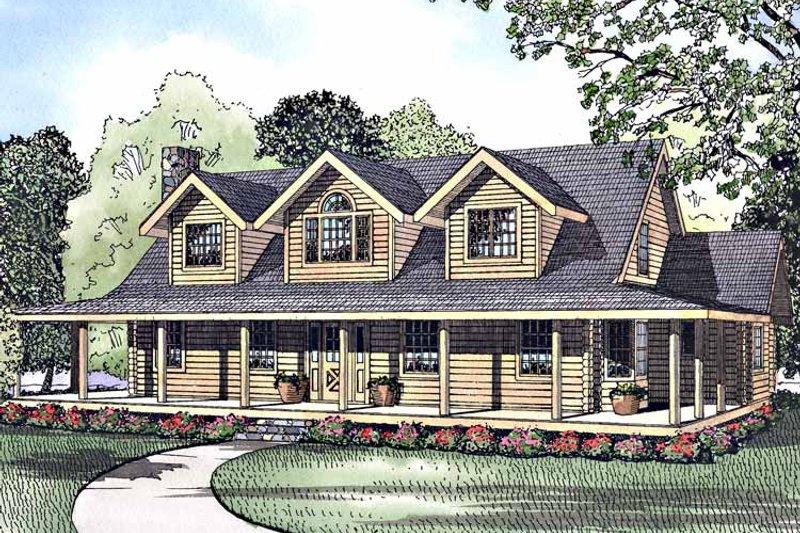 Log Exterior - Front Elevation Plan #17-3034 - Houseplans.com