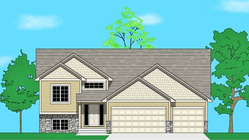 Prairie style house plan 3 beds 2 baths 1399 sq ft plan for Midwest living house plans