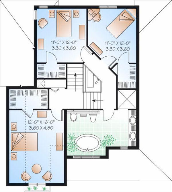 Farmhouse Floor Plan - Upper Floor Plan Plan #23-803