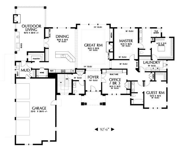 European Floor Plan - Main Floor Plan Plan #48-672