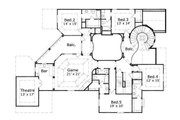 European Style House Plan - 5 Beds 5.5 Baths 6438 Sq/Ft Plan #411-664 Floor Plan - Upper Floor