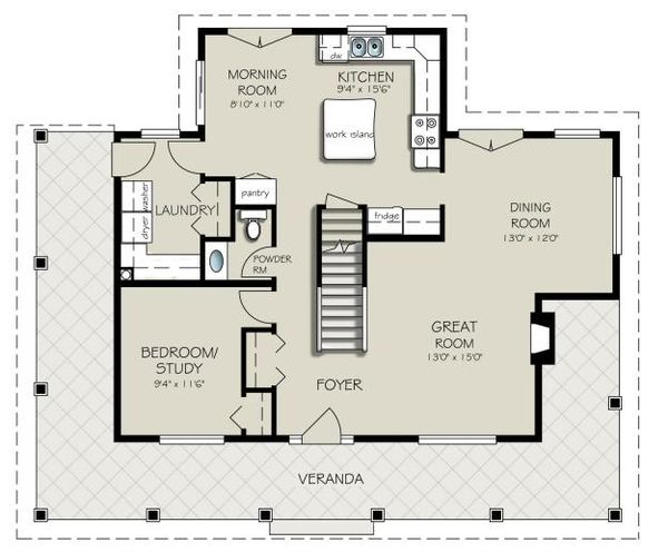 Architectural House Design - Country Floor Plan - Main Floor Plan #427-3