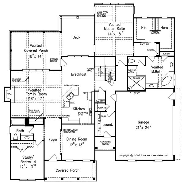 Traditional Floor Plan - Main Floor Plan Plan #927-6