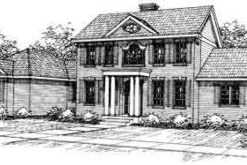 Colonial Exterior - Front Elevation Plan #124-213
