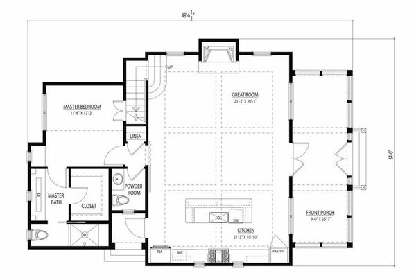 Cottage style home layout of Plan 443-11