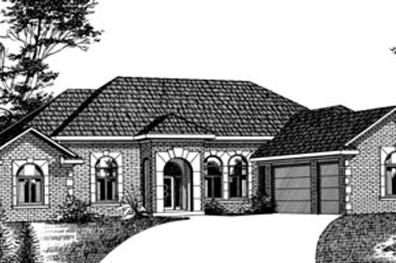 European Exterior - Front Elevation Plan #15-135