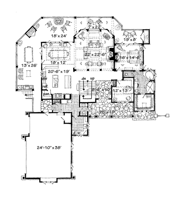 Craftsman Floor Plan - Main Floor Plan Plan #942-30