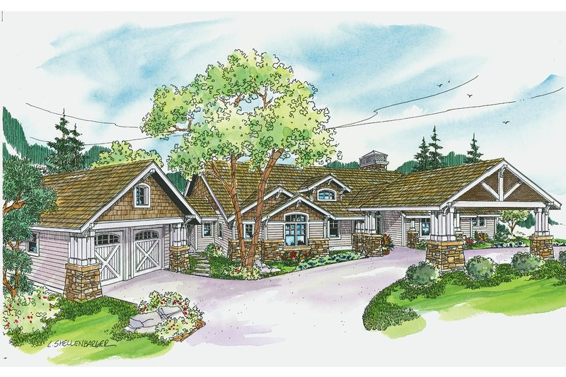 Craftsman Exterior - Front Elevation Plan #124-704