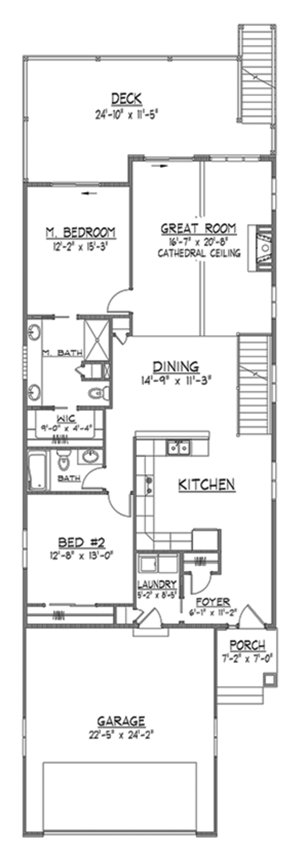 Craftsman Floor Plan - Main Floor Plan Plan #1064-7
