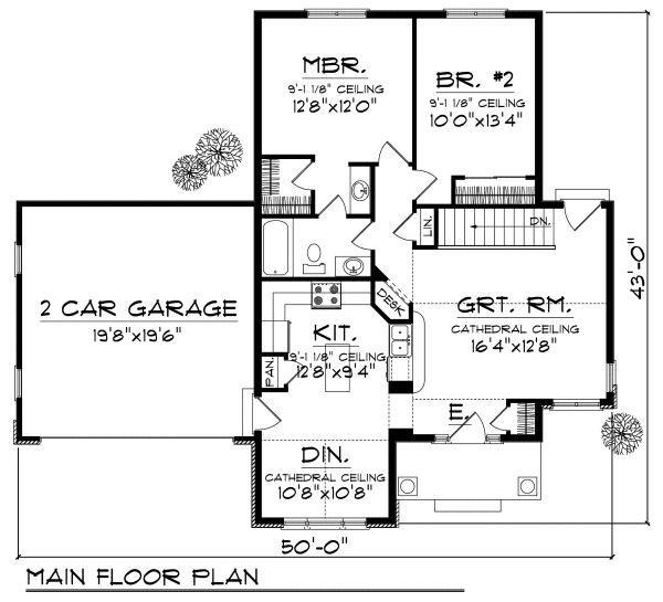 Country Floor Plan - Main Floor Plan Plan #70-856