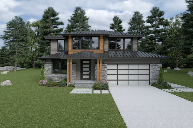 House Plan Design - Contemporary Exterior - Front Elevation Plan #1070-18
