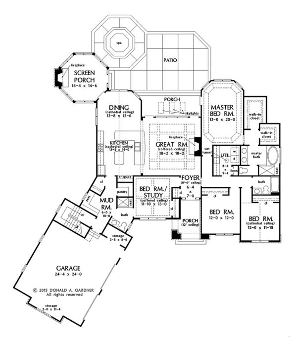 European Floor Plan - Main Floor Plan Plan #929-1003