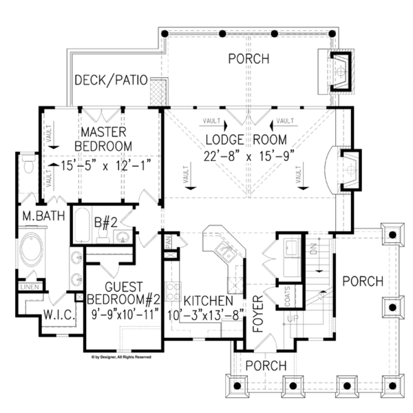 Craftsman Floor Plan - Main Floor Plan Plan #54-370