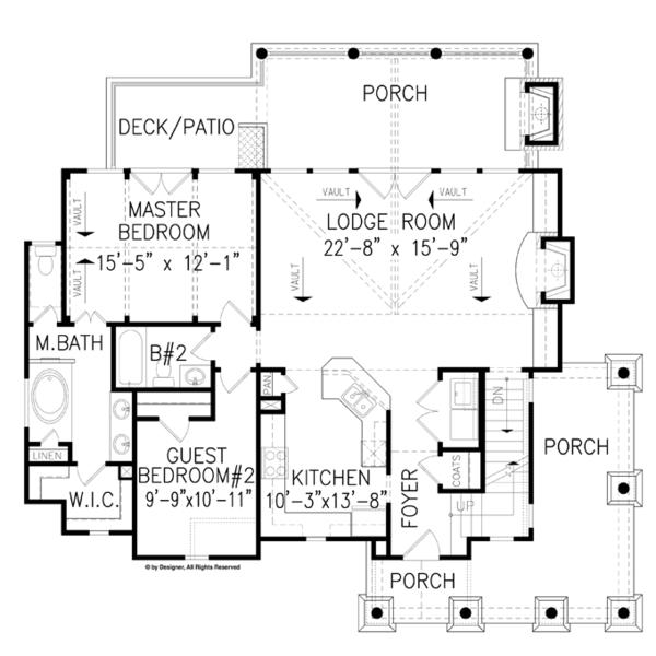 Craftsman Floor Plan - Main Floor Plan Plan #54-370
