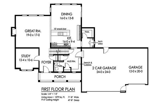 Traditional Floor Plan - Main Floor Plan Plan #1010-226