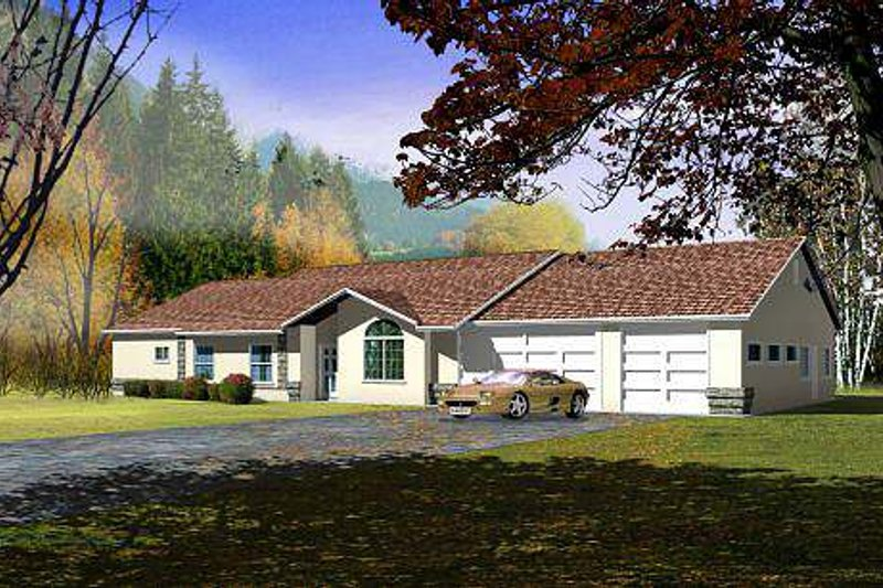 Ranch Style House Plan - 5 Beds 3.5 Baths 2505 Sq/Ft Plan #1-591 Exterior - Front Elevation