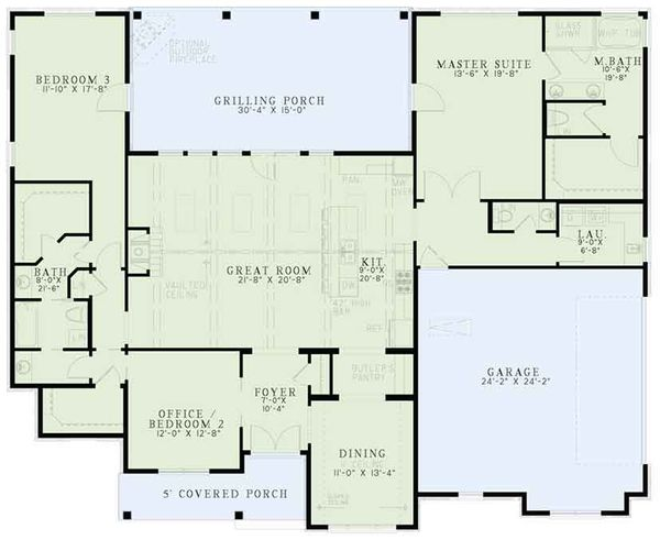 European Floor Plan - Main Floor Plan Plan #17-3383