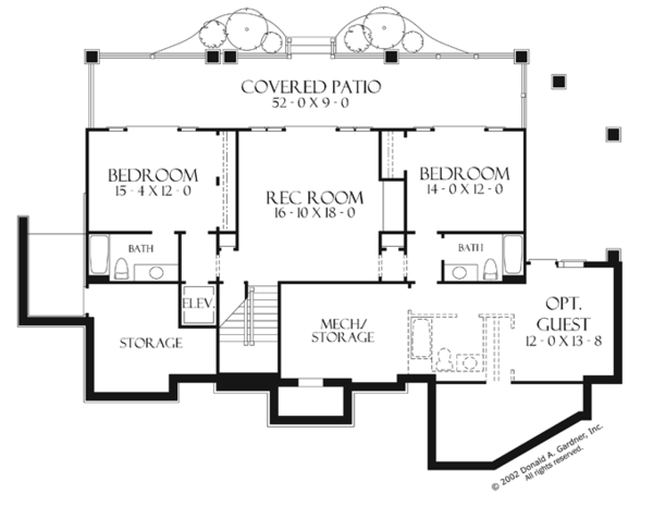 European Floor Plan - Lower Floor Plan Plan #929-899