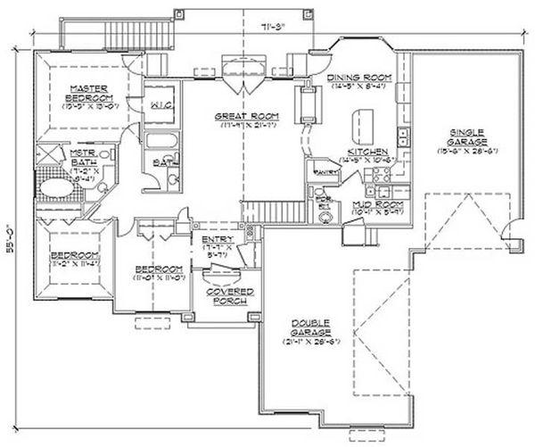 Colonial Floor Plan - Main Floor Plan Plan #5-237