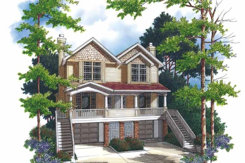 Colonial Exterior - Front Elevation Plan #48-840
