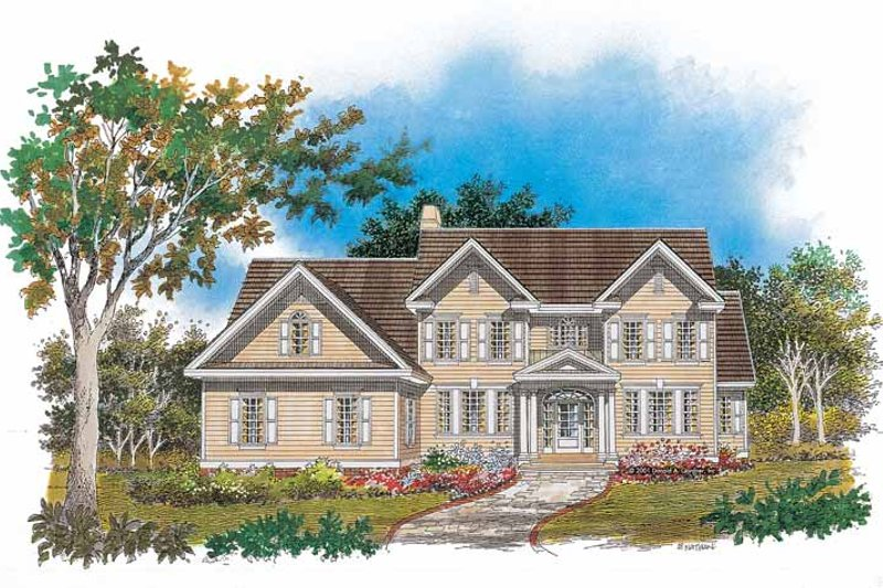 Colonial Style House Plan - 4 Beds 3.5 Baths 2632 Sq/Ft Plan #929-632 Exterior - Front Elevation