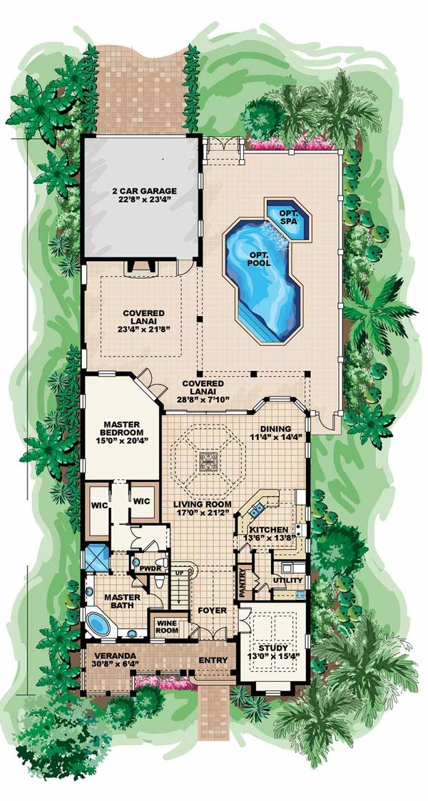 Country Floor Plan - Main Floor Plan Plan #1017-17