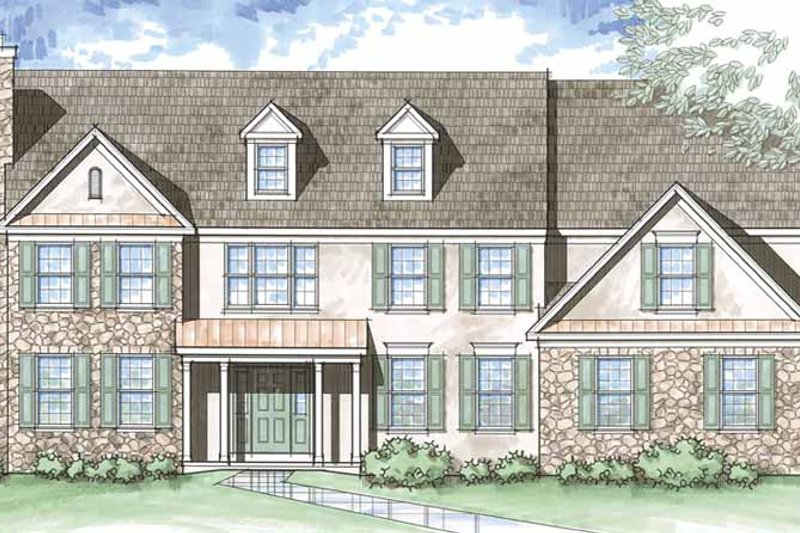 Colonial Exterior - Front Elevation Plan #1029-18
