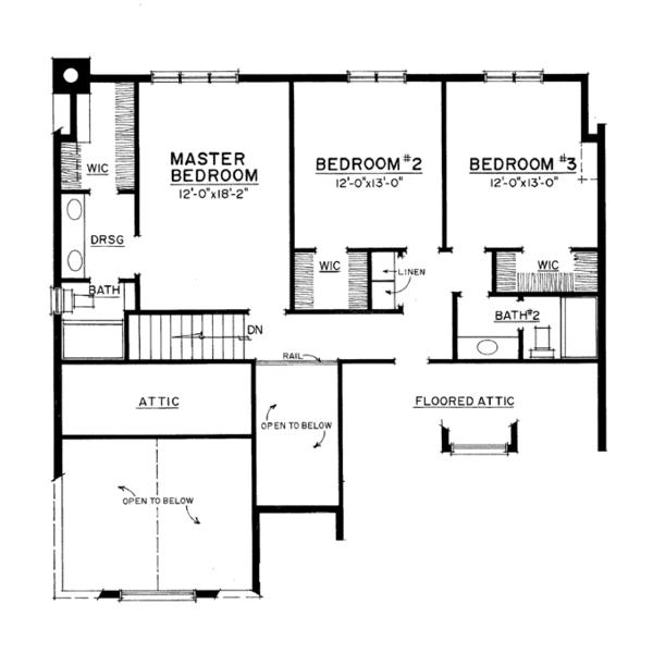 Colonial Floor Plan - Upper Floor Plan Plan #1016-105