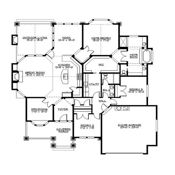 Craftsman Floor Plan - Main Floor Plan Plan #132-232
