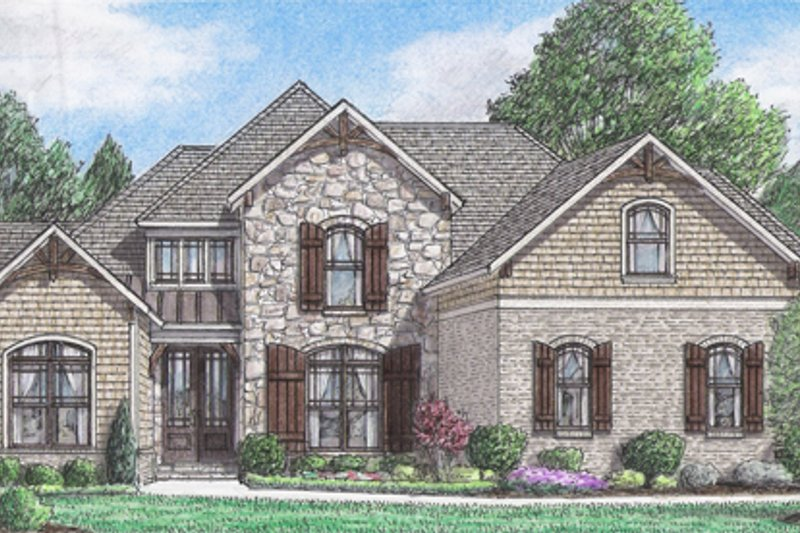 European Style House Plan - 4 Beds 3 Baths 2459 Sq/Ft Plan #34-229 Exterior - Front Elevation