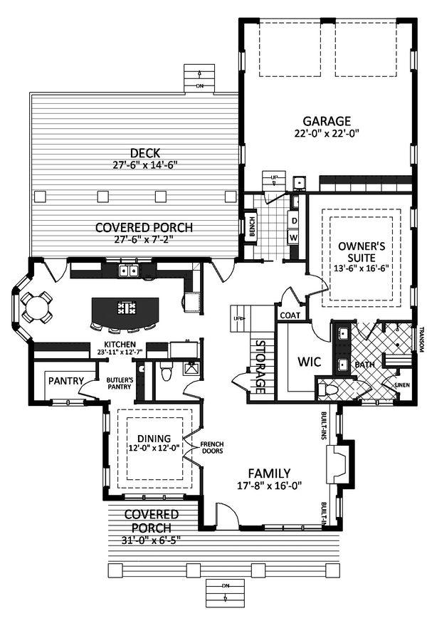 Bungalow Floor Plan - Main Floor Plan Plan #898-21
