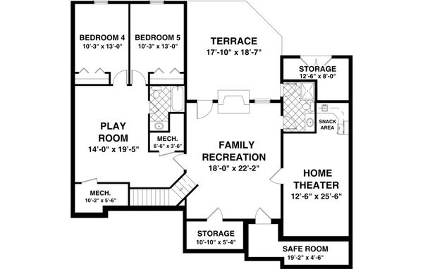 Craftsman Floor Plan - Lower Floor Plan Plan #56-631