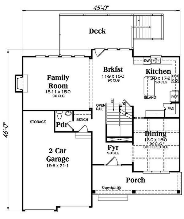 Traditional Floor Plan - Main Floor Plan Plan #419-308