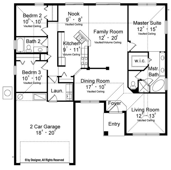 Architectural House Design - European Floor Plan - Main Floor Plan #417-848