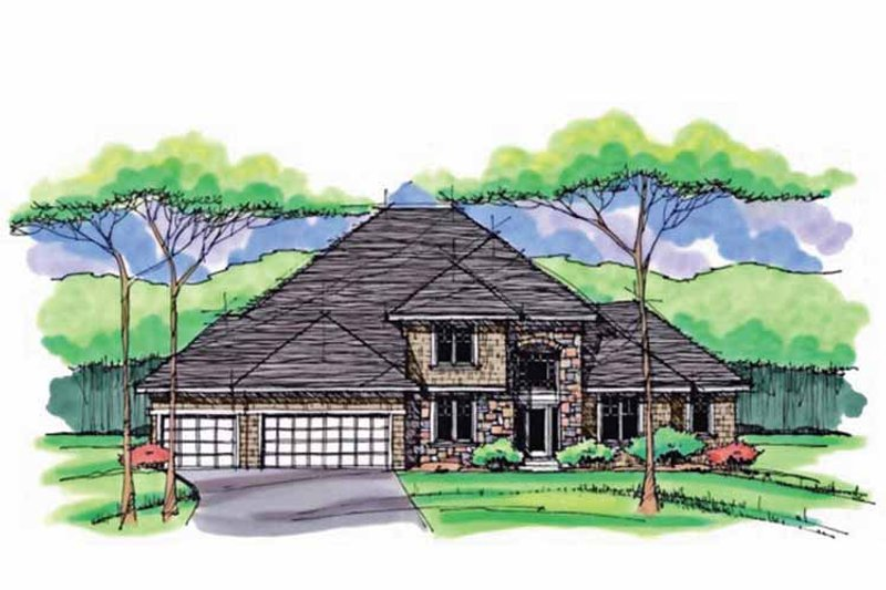 Colonial Exterior - Front Elevation Plan #51-1038