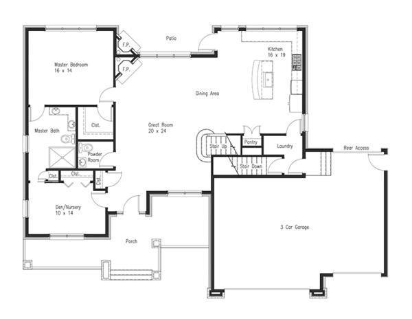 Craftsman Floor Plan - Main Floor Plan Plan #1063-1