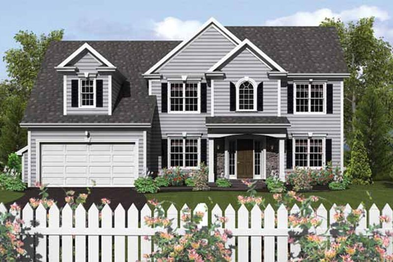 Colonial Exterior - Front Elevation Plan #1010-15