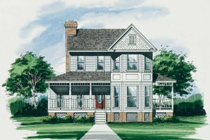 Architectural House Design - Victorian Exterior - Front Elevation Plan #10-269