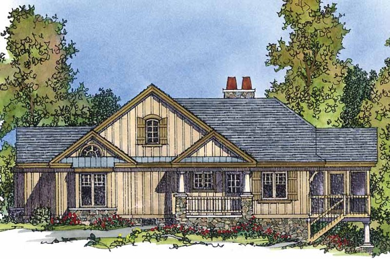 Country Exterior - Front Elevation Plan #1016-73 - Houseplans.com