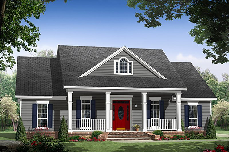 Country Style House Plan - 3 Beds 2 Baths 1636 Sq/Ft Plan #21-392 Exterior - Front Elevation