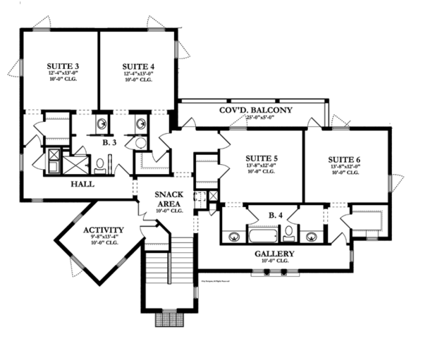 Mediterranean Floor Plan - Upper Floor Plan Plan #1058-13