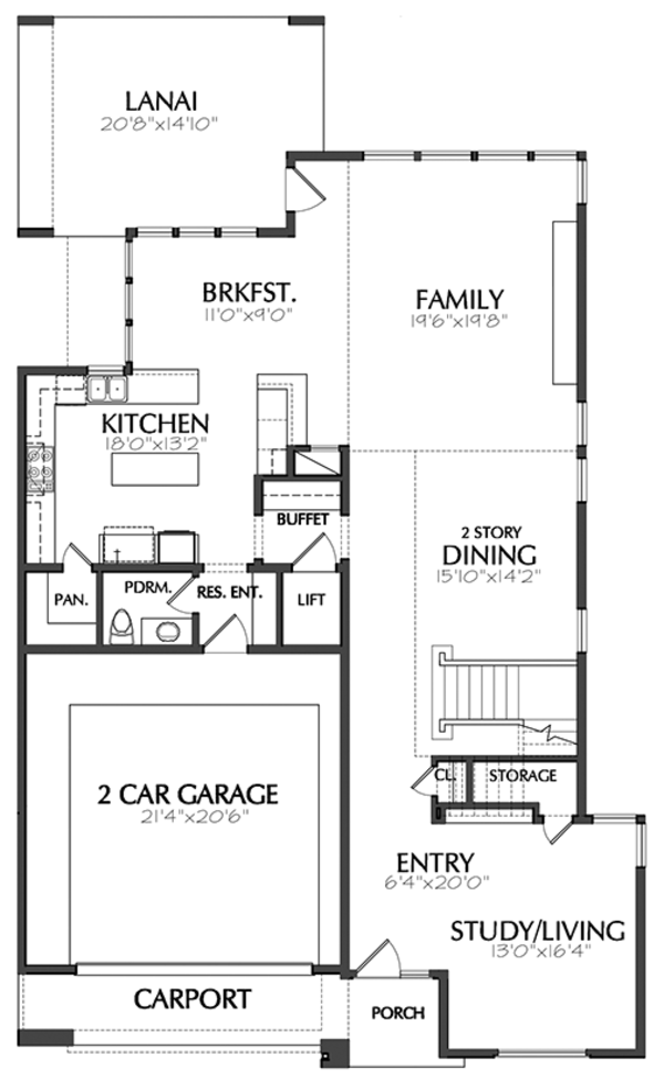 Contemporary Floor Plan - Main Floor Plan Plan #1021-12