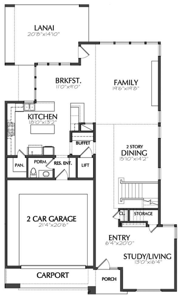 Contemporary Floor Plan - Main Floor Plan Plan #1021-12