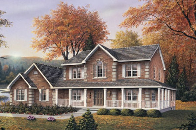 Country Style House Plan - 3 Beds 2.5 Baths 2505 Sq/Ft Plan #57-139 Exterior - Front Elevation