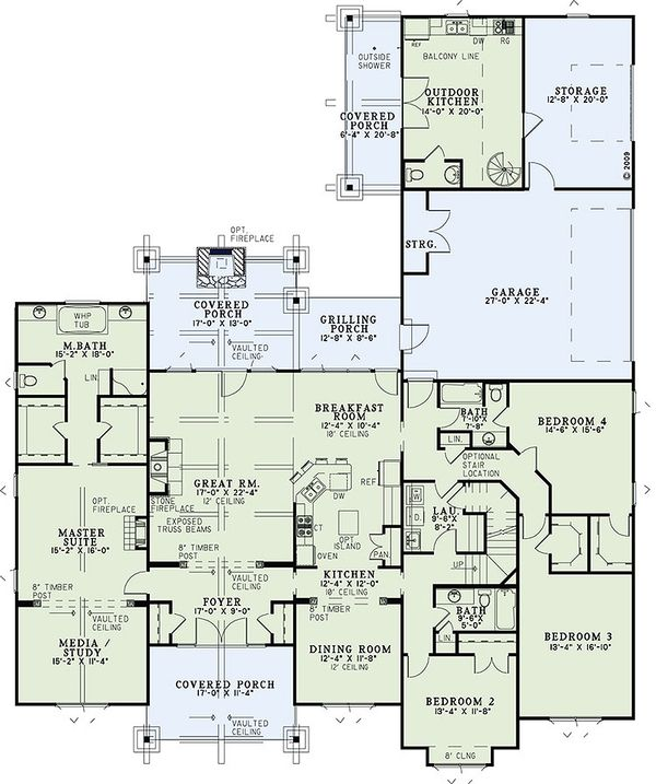 Craftsman Floor Plan - Main Floor Plan Plan #17-2445