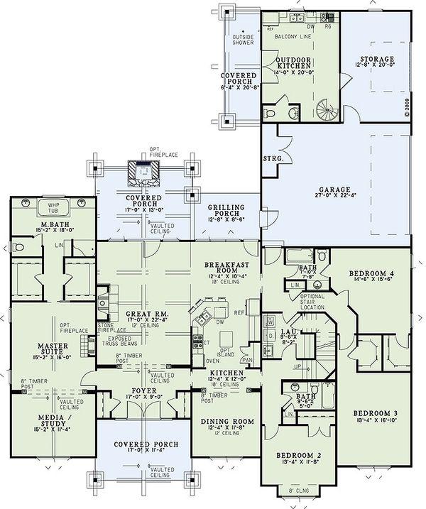 Craftsman Floor Plan - Main Floor Plan #17-2445