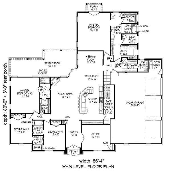 European Floor Plan - Main Floor Plan Plan #932-28
