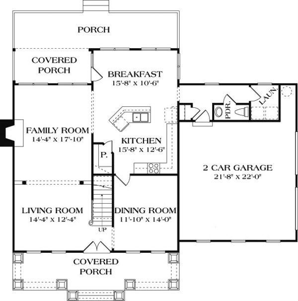 Craftsman Floor Plan - Main Floor Plan Plan #453-7